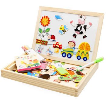 Wooden Farm Jigsaw Puzzle Drawing Board Magnetic Puzzles Double-sided Board Children's Educational Toys