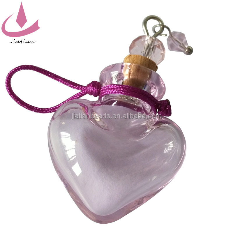 Murano Lampwork Blown beads cork charms Pink Hollow sweet Heart shape Glass crystal Essential Oil Perfume bottle