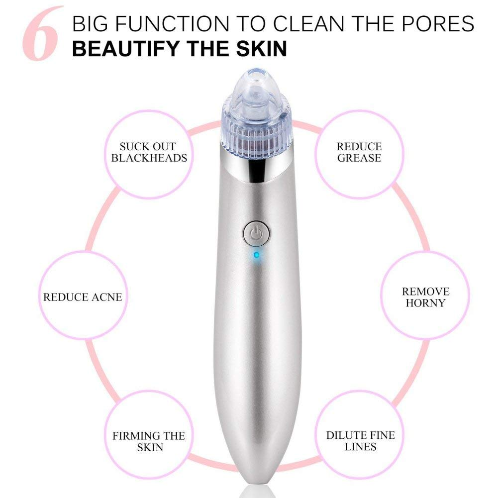 Shouhengda Blackhead Remover Pore Vacuum - Electric Pore Cleaner Removal Extractor Tool Device Facial Pore Cleaner Electric Acne Comedone Extractor Kit (White)