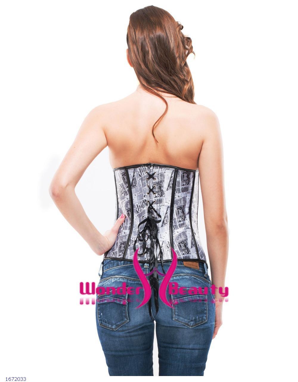 1a112cf349 Get Quotations · Sexy Women waist corset Waist Training news paper print overbust  corpetes e espartilhos sexy