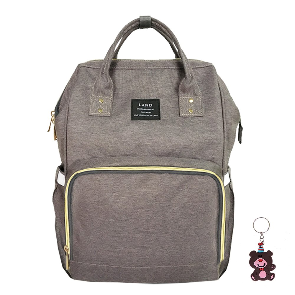 Diaper Bag Waterproof Travel Backpack Stylish Nappy Bags with Multi-Function for Baby Care (Grey)