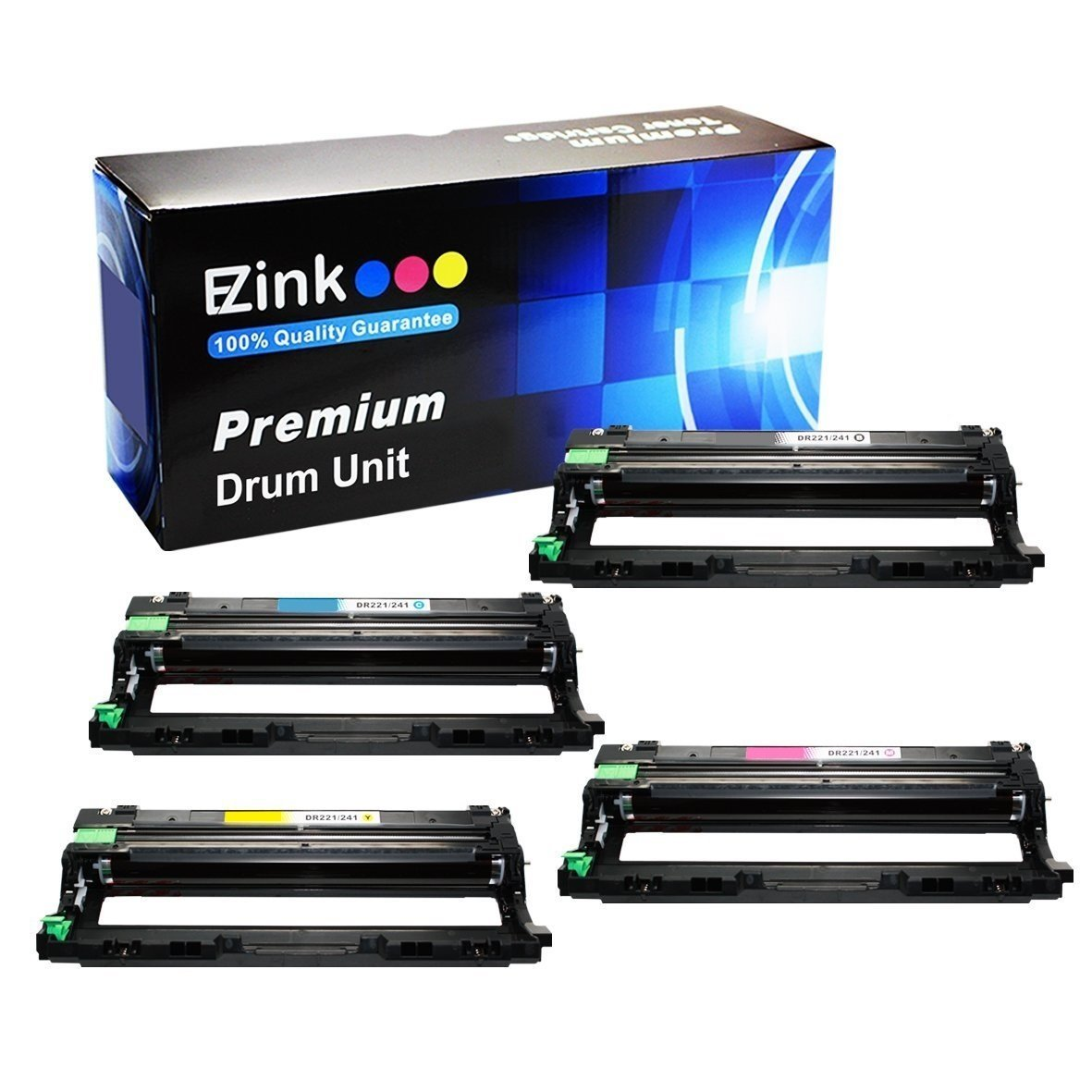 E-Z Ink (TM) Compatible Drum Unit Replacement For Brother DR221CL (1 Black, 1 Cyan, 1 Magenta, 1 Yellow Drum Unit) Compatible With HL-3140CW HL-3170CDW MFC-9130CW MFC-9330CDW MFC-9340CDW Laser Printer
