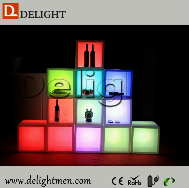 Good price battery power illuminated portable mobile plastic led night club cube wine display for garden