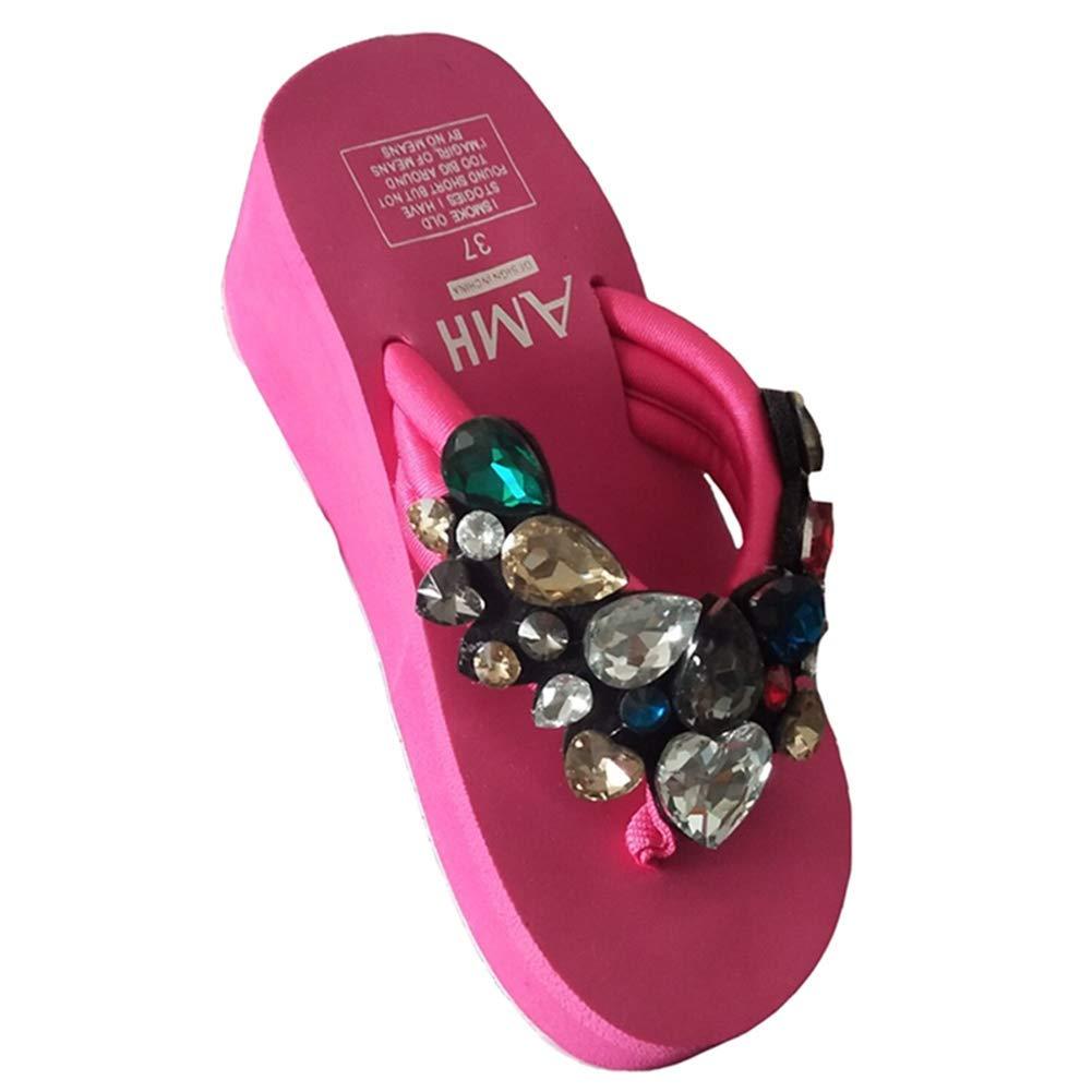 5d791cad2eed LGXH Womens Rhinestone Beach Slippers Non-Slip Summer Ladies Platform Wedge  Flip Flops Bling Sandals