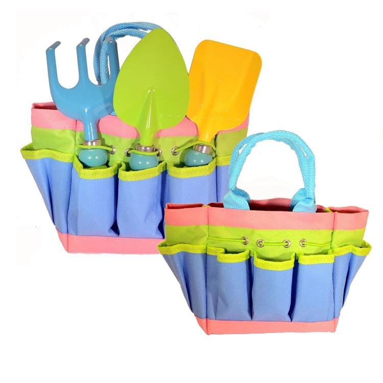 custom colorful kid's garden tools tote bag canvas garden tool bag