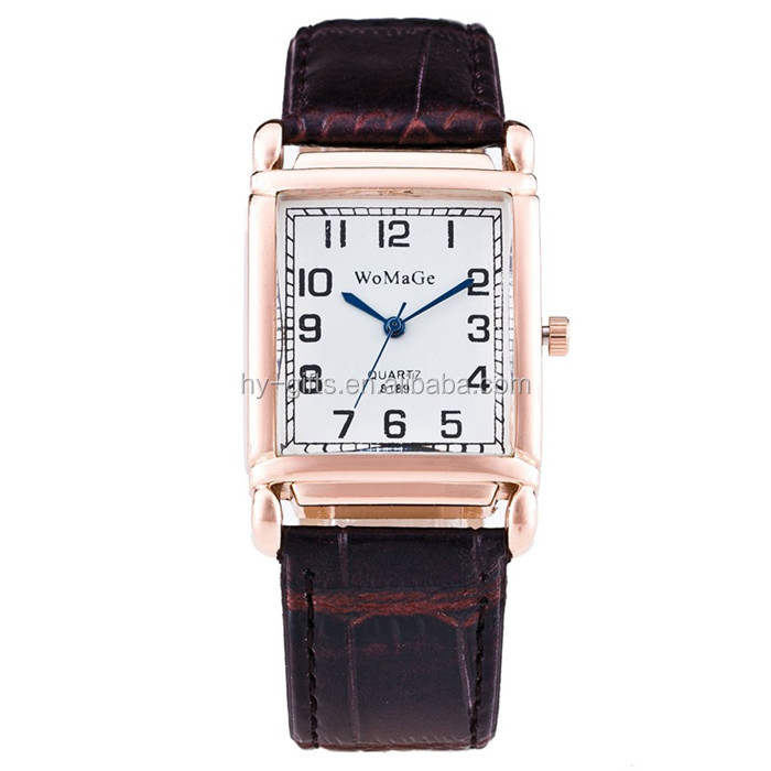 women men square watch black leather band unisex square quartz fashion watch
