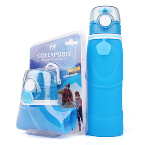 Flexible Reusable Private Label Collapsible Sport Silicone Foldable Water Bottle