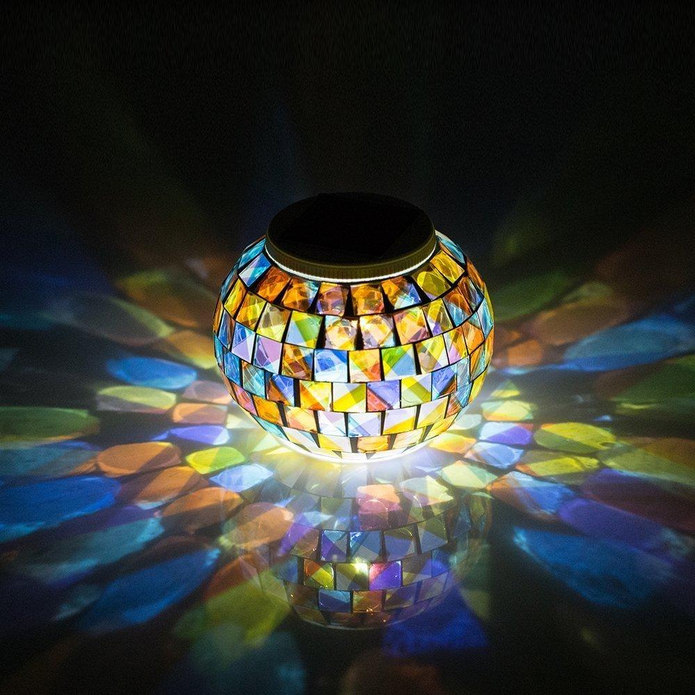 Solar Powered Mosaic Glass Ball Garden Lights Color
