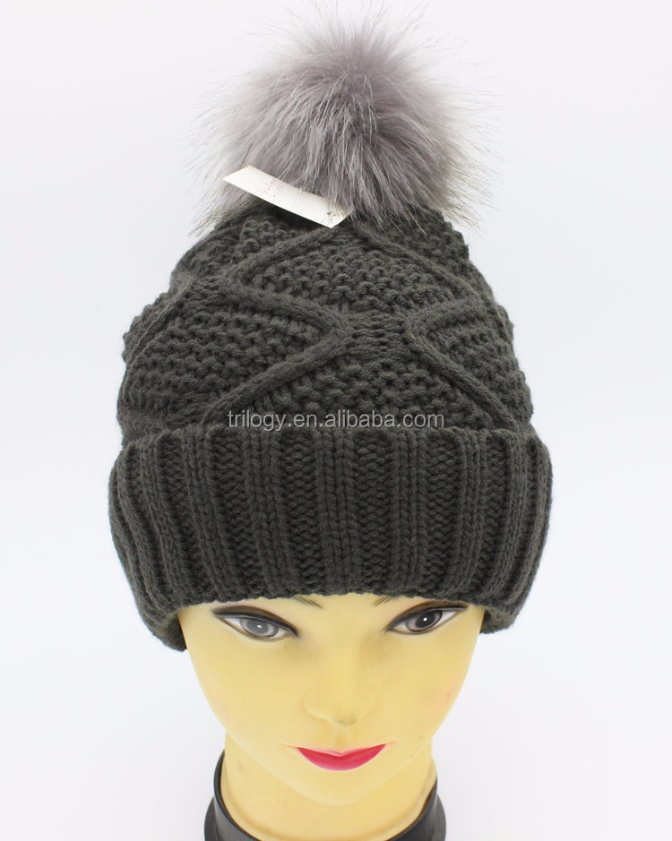New Arrival Black and Grey Knitted Faux Fur Ball Winter Beanie / Faux Fur Ball Hats