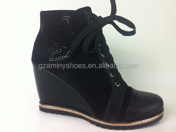 2015 High Lace wedge up bootie Newest Quality cxPxwZq8AC