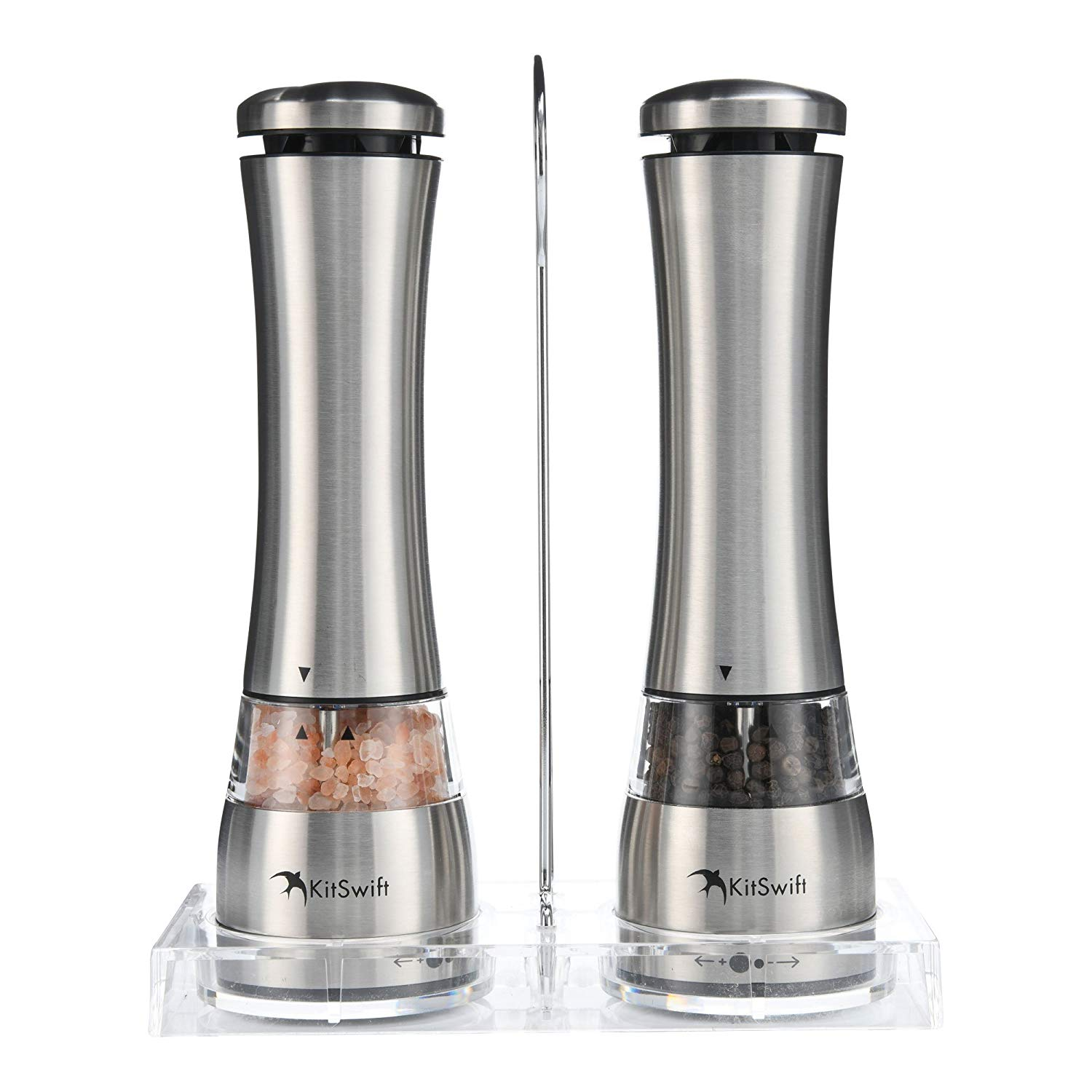 Electric Salt & Pepper Grinder Set by KitSwift - Battery Operated Automatic Stainless Steel Mill with Ceramic Core & LED Light - Adjustable Coarseness - For Himalayan & Sea Salt, Black Pepper & More