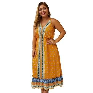 ba88e24947fd6 2019 Bohemian Kurti Indian Ethnic Printed Pattern Plus Size Dress For Women