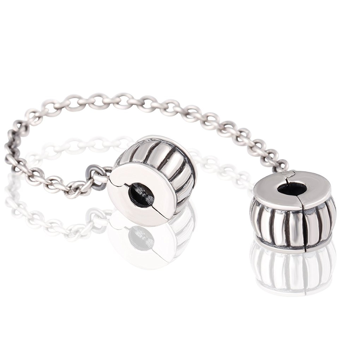 Clasp Safety Chain Charm 925 Sterling Silver Clip Stopper Charm Spacer Charm for Charm Bracelet