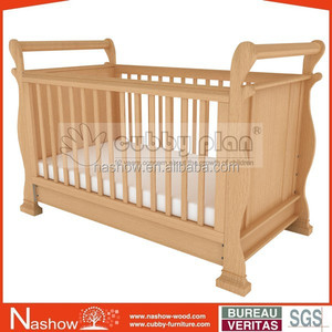 Cubby Plan LMBC-005 high quality 3 in 1 baby sleigh cot baby wooden convertible crib