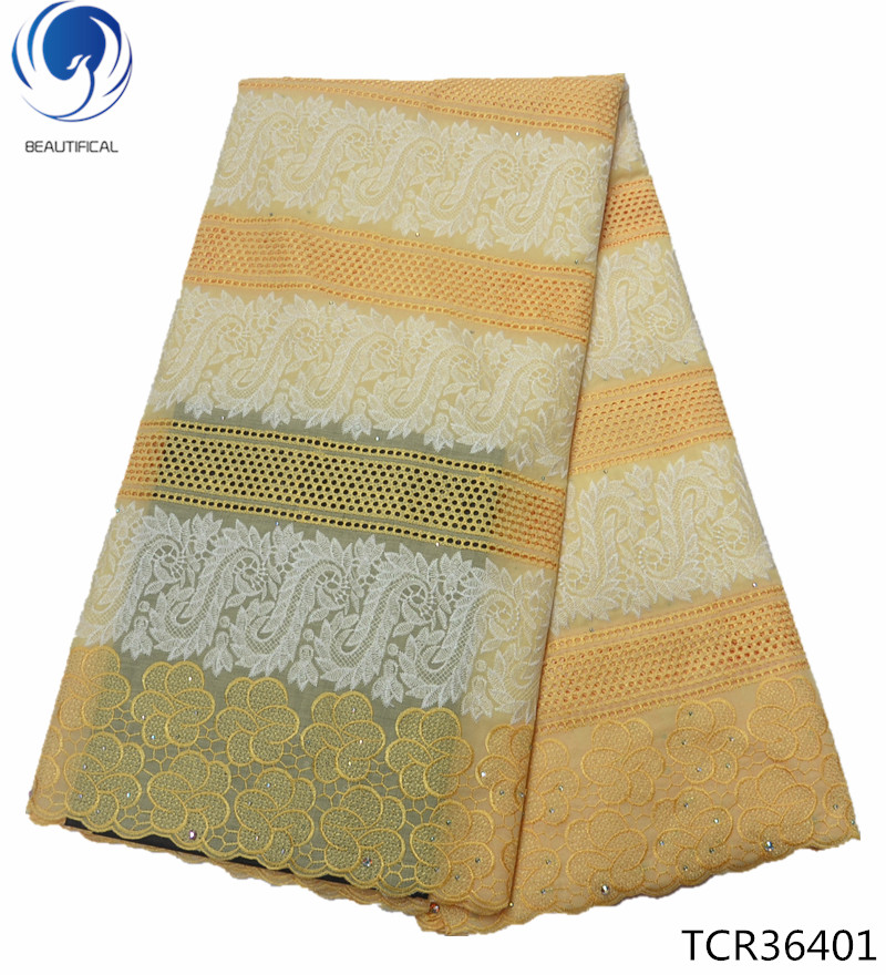 Beautifical Wholesale heavy voile fabric african swiss cotton voile lace big swiss lace yellow TCR364