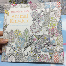 24 Pages Animal Kingdom English Edition Antistress Coloring Book For Children Adults Graffiti Painting Drawing Art Book