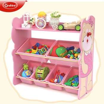 New Style Wooden Toy Storage Shelf With Bins Kids Rack
