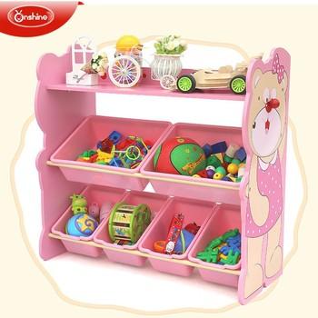 New Style Wooden Toy Storage Shelf With Bins Kids Rack