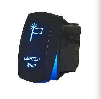 ORANGE Laser Etched LED LIGHTED WHIPS Rocker Switch Dual Light