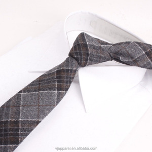 Mens Eco-friendly Handmade Plaid Cashmere Wool Slim Tie