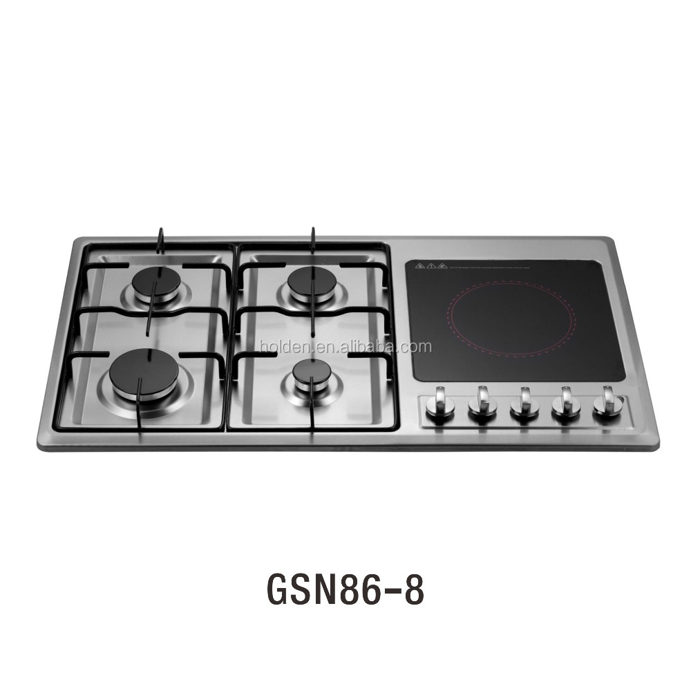 Induction Cooker With Gas Cooktop 304 Ss Panel In 5 Burner