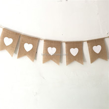 rustic Wedding baby shower birthday hessian Burlap jute Linen love white heart flag bunting Banner