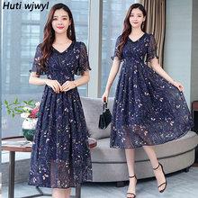 2020 женское шифоновое пляжное платье миди с принтом, летнее винтажное платье размера плюс в стиле бохо, цветочный сарафан, элегантные женски...(Китай)
