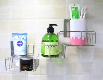 Wall Mounted Plastic Shower Shampoo Bathroom Shelf Gel Bottle Magic Sticky Holder