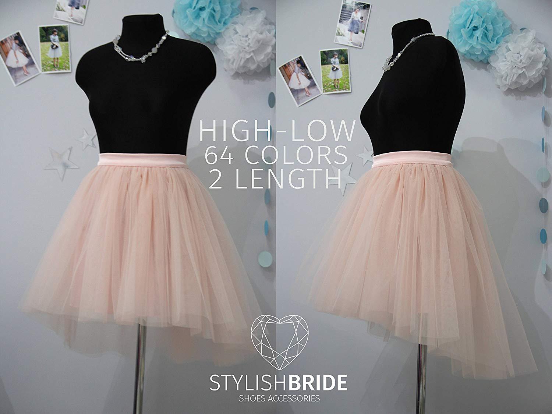 57afe0d30 Get Quotations · Light Blush High Low Tulle Skirt Bridal, Women Hi Low  Tulle Skirt, Princess Hi