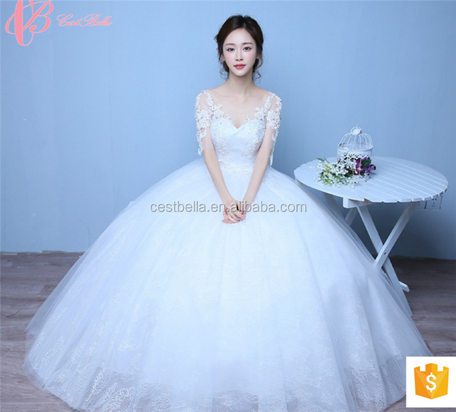 2018 Luxury Y Cinderella Long Sleeve Llique Puffy Wedding Dress Ball Gown