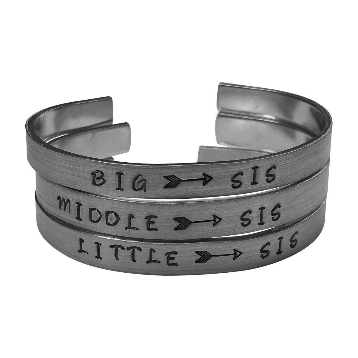 Big Sis/Middle Sis/Little Sis - Hand Stamped Aluminum Cuff Bracelets Set Arrow 3 Sisters, Friendship, BFF,Sorority Sisters