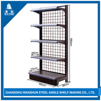 metal wire mesh shelf with plastic shelf edge label holder