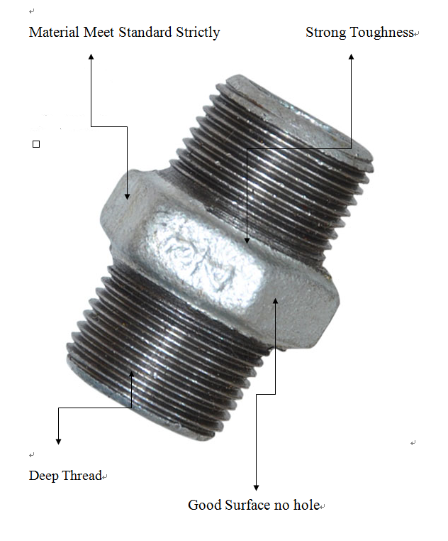 Npt Astm B16.3 Galvanized Male Threaded Malleable Iron Pipe Fitting Nipple 280