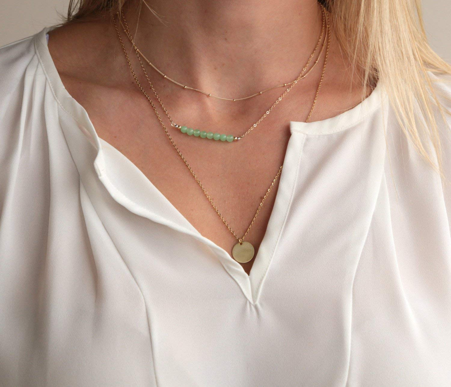 Layered Jewelry Set // Dew Drop Chain / Layered Necklace / MultiStrand Necklace / Beaded Necklace / Layered Necklace Set / Gift for Her / Gold Silver / Bridesmaid