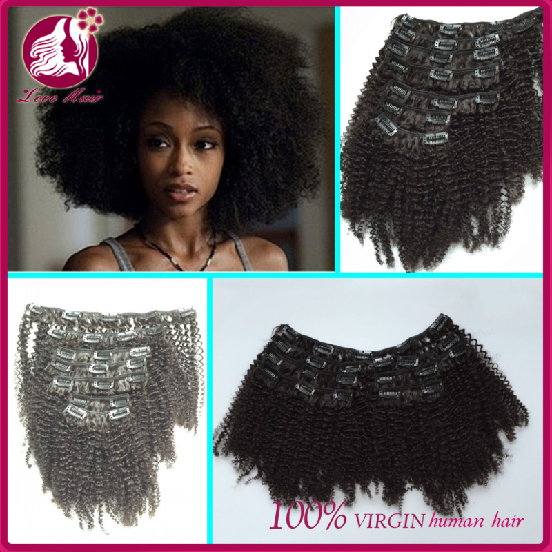 Afro kinky 4c hair clips in afro kinky curly hair extensions wholesale price unprocessed 7A grade mongolian hair