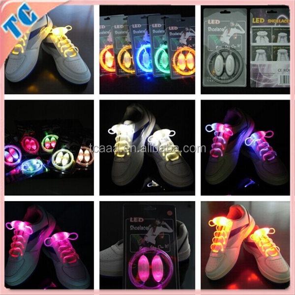 Light up Led flashing fluorescent shoelaces,LED shoelaces party supply