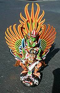 Vishnu riding on YELLOW Garuda handmade wood carving from Bali Indonesia 28 inch size