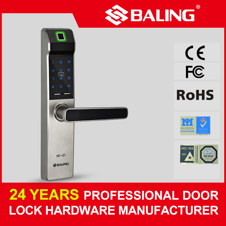 Compact delicate design biometric digital door lock fingerprint password keycard home and business use room keyless door lock