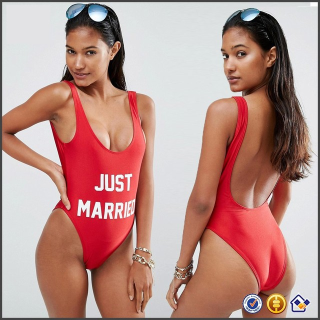 7fca7ce842 wholesale logo print Plunge neckline summer new products 2017 beachwear KY Private  Party Just Married Swimsuit