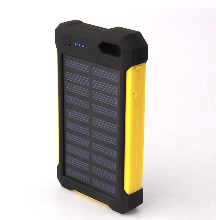 OEM Solar phone battery 10000mah power bank With LED Lamp Silicone Edge portable charger power bank