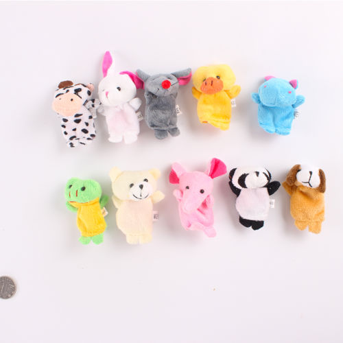 GREAT 10pcs Family Finger Puppet Hand Cartoon Doll Baby Animal Educational Xmas