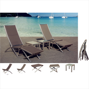 Stackable Hotel villa resort outdoor sun lounger poly rattan woven commercial sling beach chair and stool Yard Garden furniture