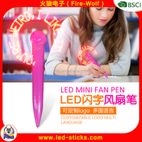 Modern OEM Flashing Letter LED Mini Fan Pen China factory Custom 2016 Football European Cup Fans Flash LED Light up Fan Pen