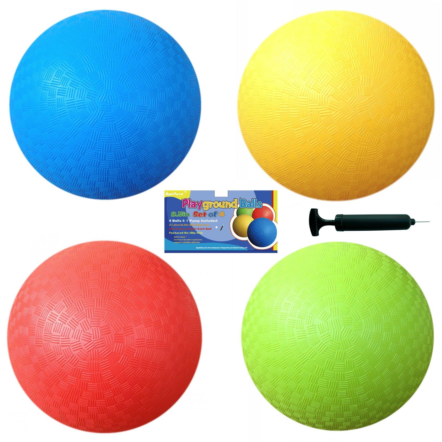 AppleRound 8.5 Inch Playground Balls (Set of 4) 1 Hand Pump