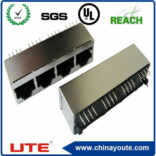 RJ45 Connector 1x4 Port 6P6C Right Angle PCB Mount