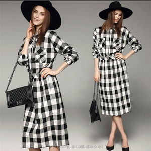 Wholesale long sleeve vintage linen checked shirt dress for OL