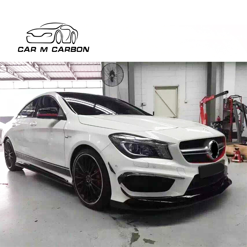 R Style Carbon Fiber Front Lip For MB CLA- Class W117 CLA45 year 2014-16 up front bumper