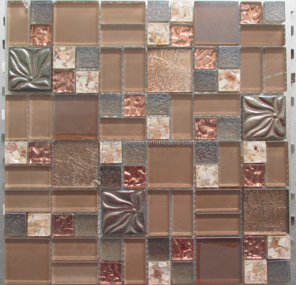 flower pattern marble and mother of pearl mosaic rose red foil glass tiles for home hotel wall tile JVFTMIX-4