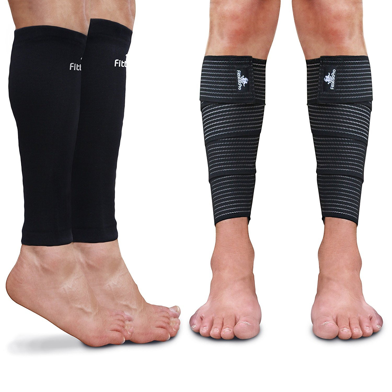 2dbbe7d28a Calf Sleeve Package (Pack of 4) - Calf Compression Sleeve (1 Pair) And Calf  Wraps (1 Pair) - Calf Guard For Men And Women - True Leg Graduated  Compression ...