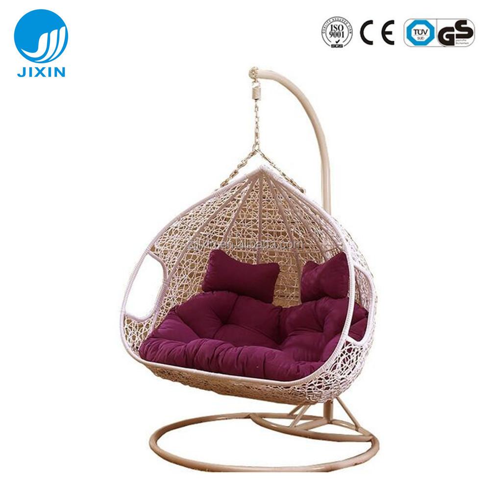 Garden Rattan Wicker Double Seat Hanging Egg Swing Chair With Metal